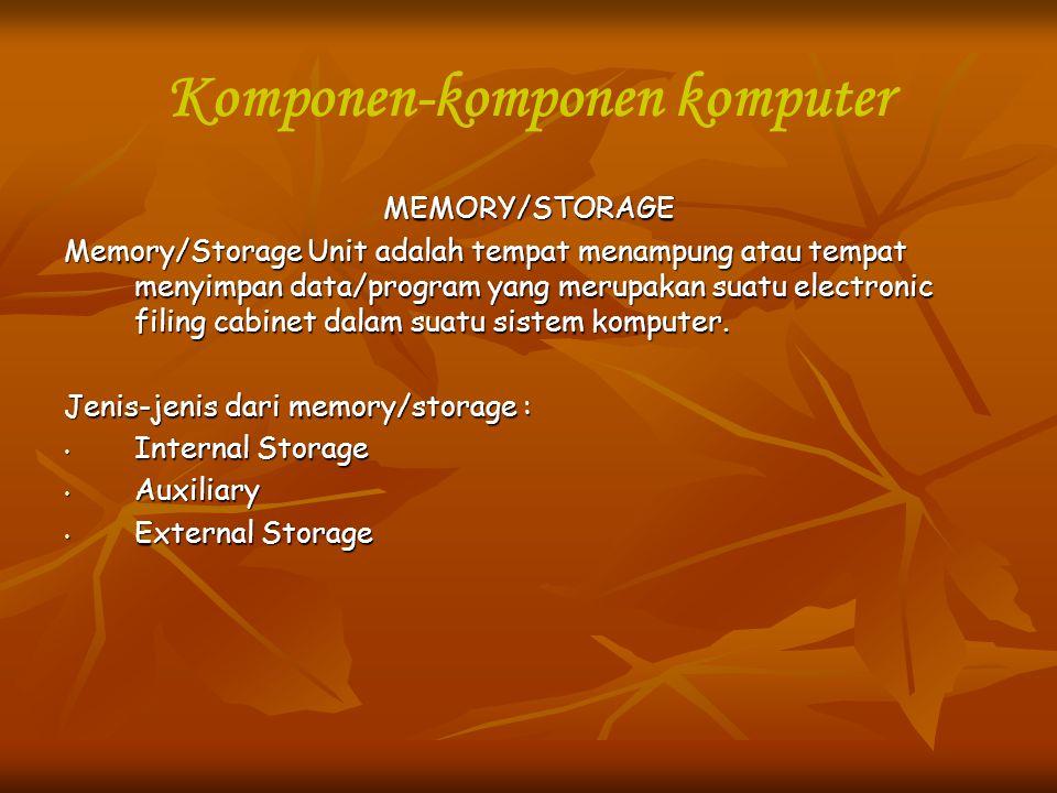 Komponen-komponen komputer MEMORY/STORAGE Memory/Storage Unit adalah tempat menampung atau tempat menyimpan data/program yang merupakan suatu electron
