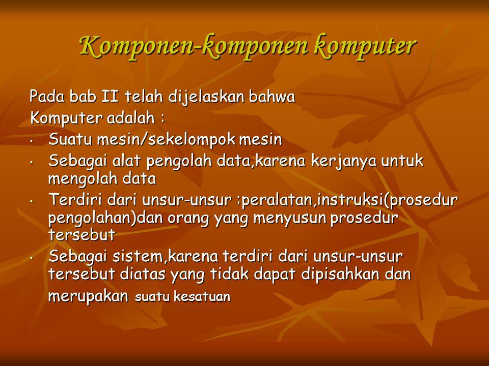Komponen-komponen komputer Pada bab II telah dijelaskan bahwa Komputer adalah : Suatu mesin/sekelompok mesin Suatu mesin/sekelompok mesin Sebagai alat