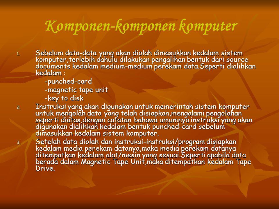 Komponen-komponen komputer 1. Sebelum data-data yang akan diolah dimasukkan kedalam sistem komputer,terlebih dahulu dilakukan pengalihan bentuk dari s