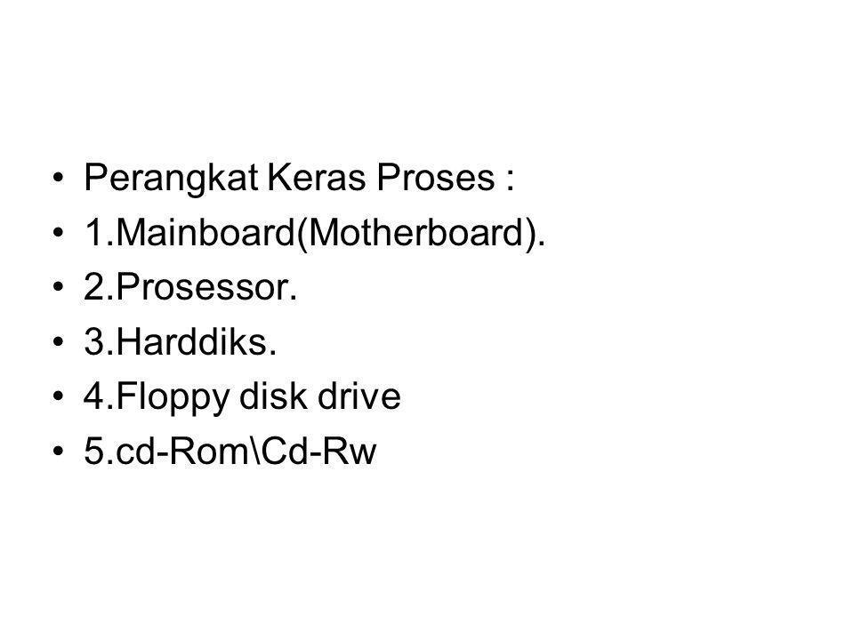 Perangkat Keras Proses : 1.Mainboard(Motherboard). 2.Prosessor. 3.Harddiks. 4.Floppy disk drive 5.cd-Rom\Cd-Rw