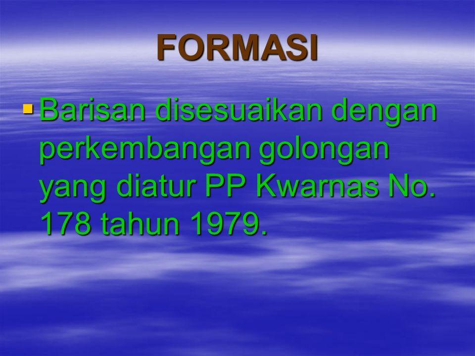 FORMASI  Barisan disesuaikan dengan perkembangan golongan yang diatur PP Kwarnas No. 178 tahun 1979.