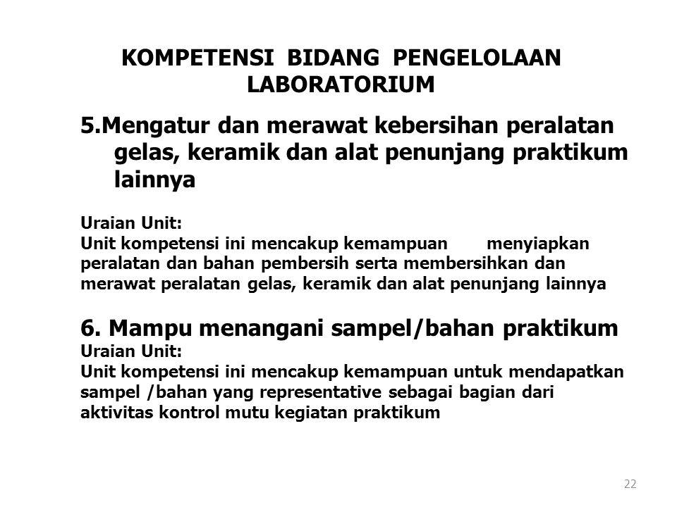 21 KOMPETENSI BIDANG PENGELOLAAN LABORATORIUM 3.Mengatur kebersihan dan menyiapkan laboratorium untuk kegiatan praktikum rutin Uraian Unit: Unit kompe