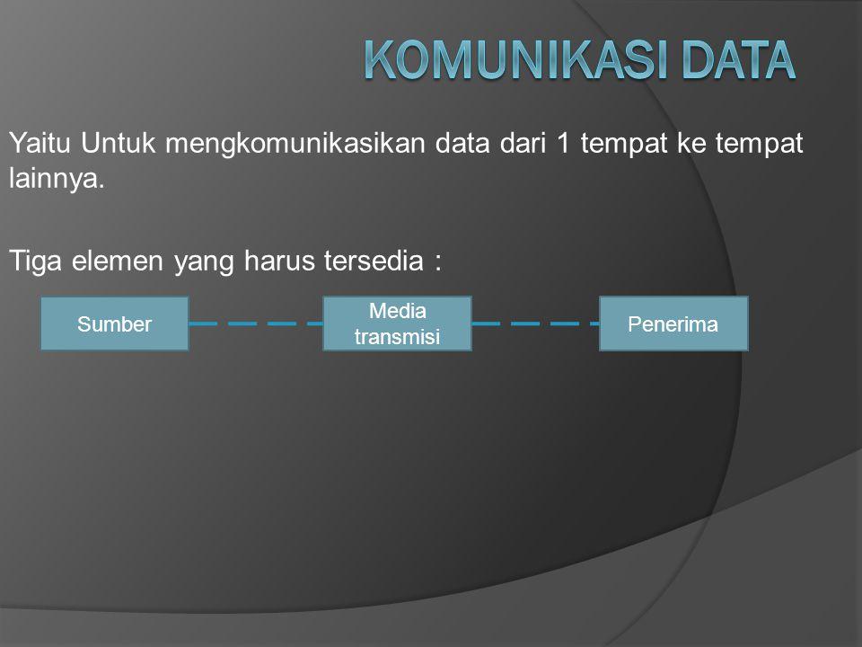 Yaitu Untuk mengkomunikasikan data dari 1 tempat ke tempat lainnya. Tiga elemen yang harus tersedia : SumberPenerima Media transmisi