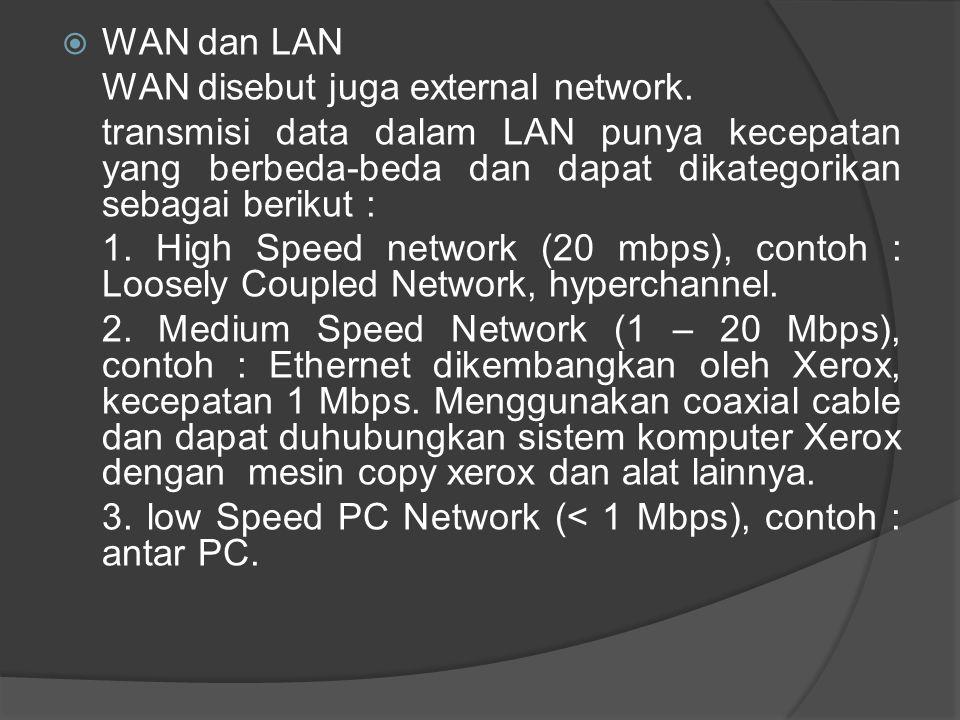  WAN dan LAN WAN disebut juga external network. transmisi data dalam LAN punya kecepatan yang berbeda-beda dan dapat dikategorikan sebagai berikut :