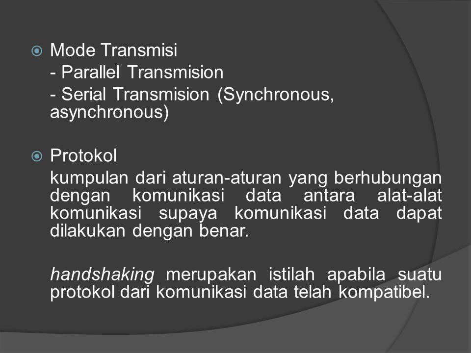  Mode Transmisi - Parallel Transmision - Serial Transmision (Synchronous, asynchronous)  Protokol kumpulan dari aturan-aturan yang berhubungan denga