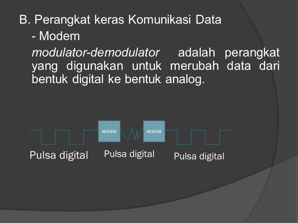 B. Perangkat keras Komunikasi Data - Modem modulator-demodulator adalah perangkat yang digunakan untuk merubah data dari bentuk digital ke bentuk anal