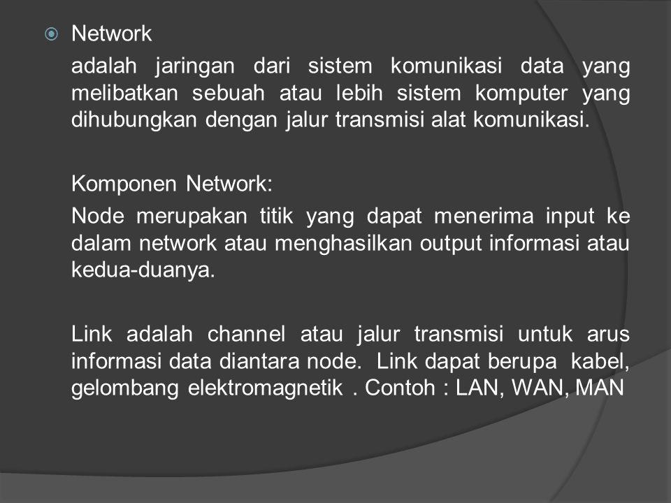  Network adalah jaringan dari sistem komunikasi data yang melibatkan sebuah atau lebih sistem komputer yang dihubungkan dengan jalur transmisi alat k