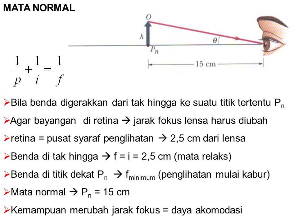 MATA NORMAL  Bila benda digerakkan dari tak hingga ke suatu titik tertentu P n  Agar bayangan di retina  jarak fokus lensa harus diubah  retina = pusat syaraf penglihatan  2,5 cm dari lensa  Benda di tak hingga  f = i = 2,5 cm (mata relaks)  Benda di titik dekat P n  f minimum (penglihatan mulai kabur)  Mata normal  P n = 15 cm  Kemampuan merubah jarak fokus = daya akomodasi