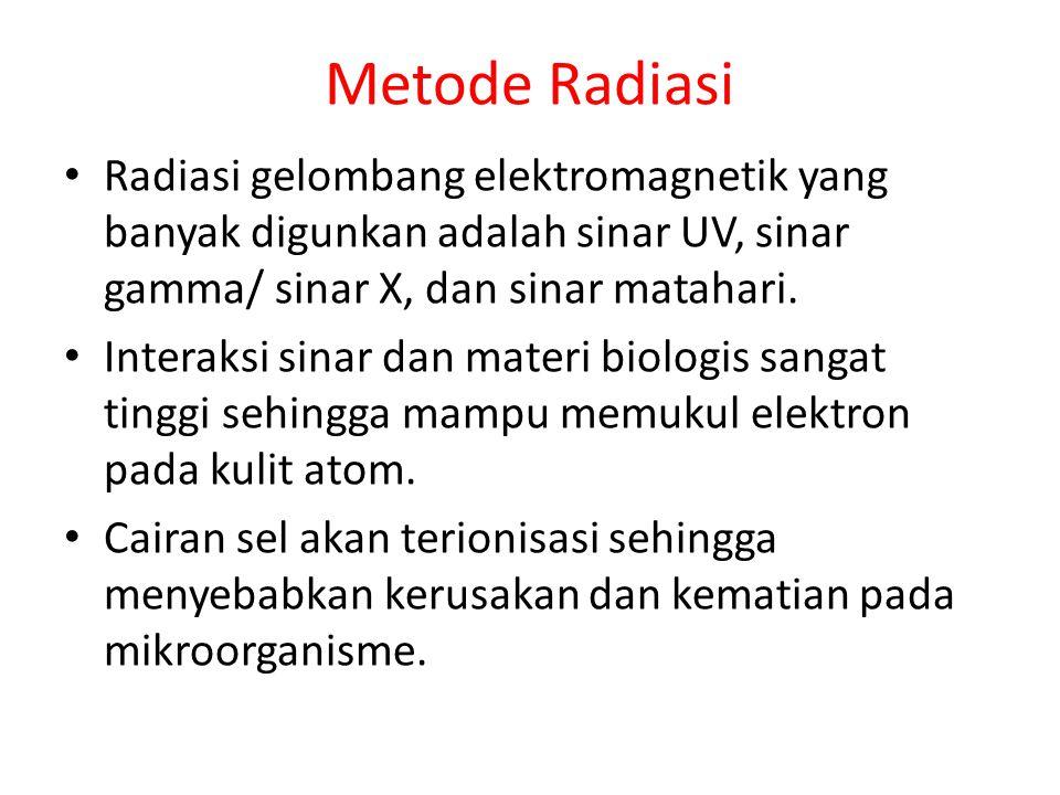 Metode Radiasi Radiasi gelombang elektromagnetik yang banyak digunkan adalah sinar UV, sinar gamma/ sinar X, dan sinar matahari.