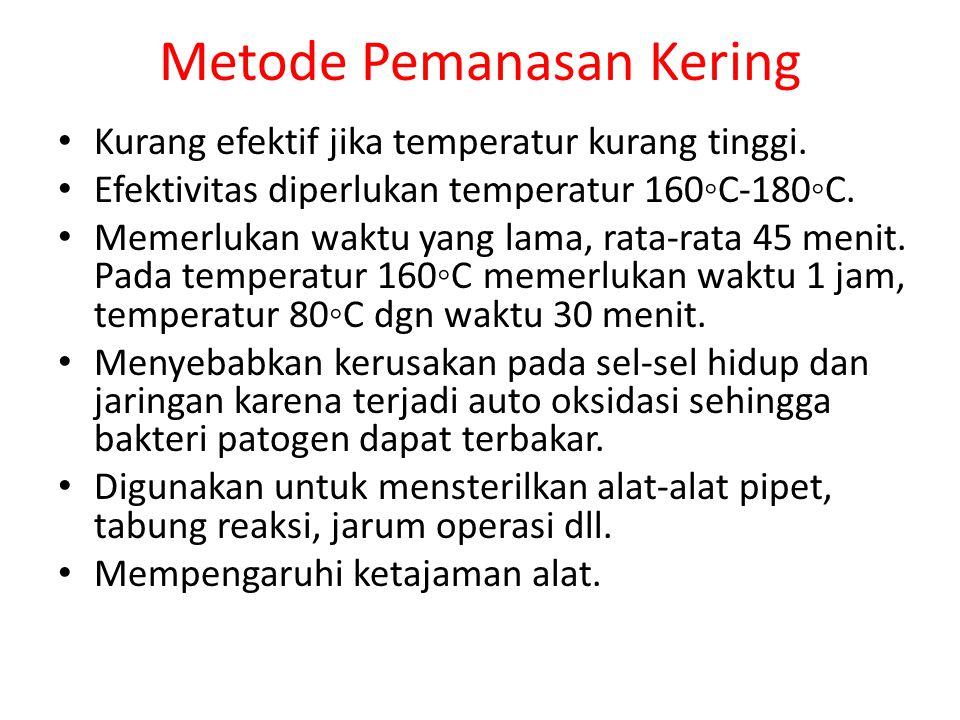 Metode Pemanasan Kering Kurang efektif jika temperatur kurang tinggi.