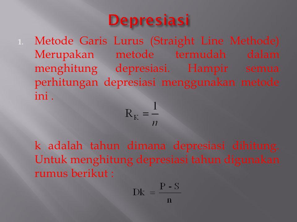 1. Metode Garis Lurus (Straight Line Methode) Merupakan metode termudah dalam menghitung depresiasi. Hampir semua perhitungan depresiasi menggunakan m