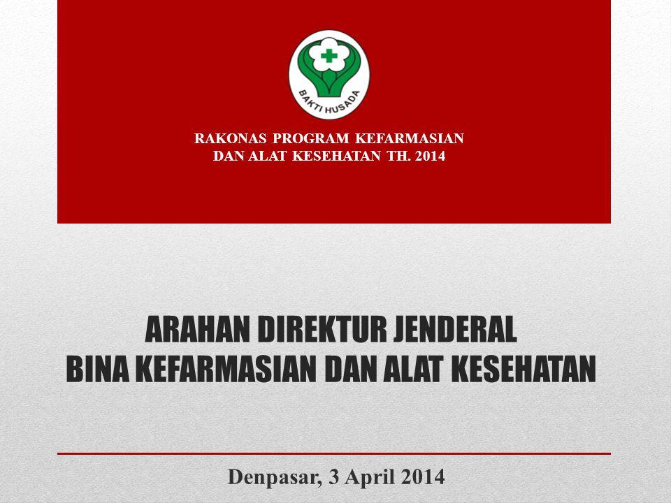 ARAHAN DIREKTUR JENDERAL BINA KEFARMASIAN DAN ALAT KESEHATAN RAKONAS PROGRAM KEFARMASIAN DAN ALAT KESEHATAN TH. 2014 Denpasar, 3 April 2014