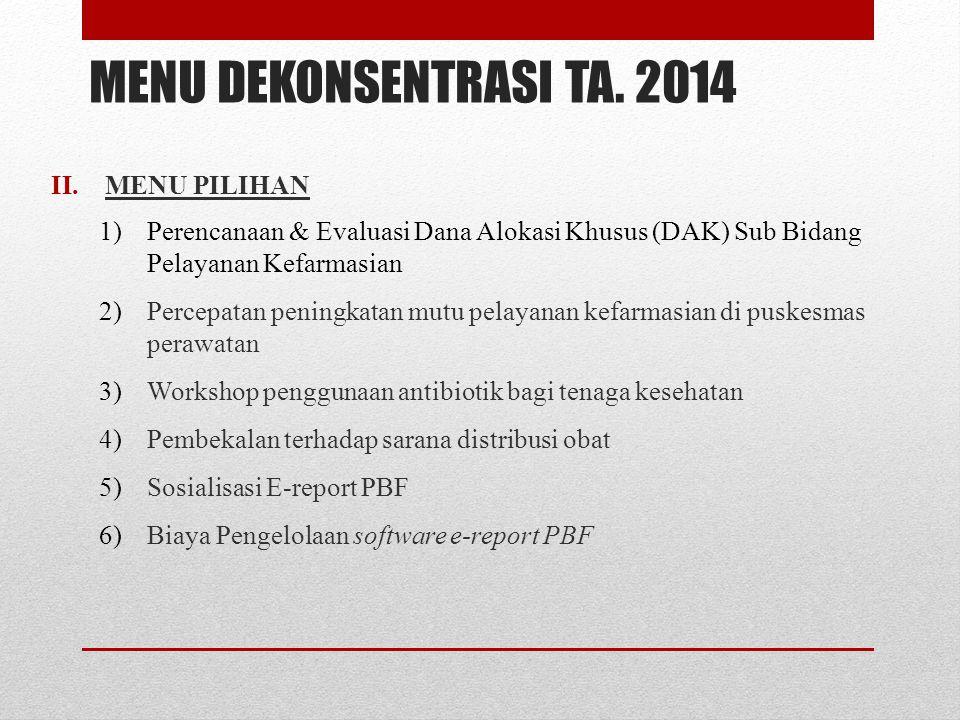 MENU DEKONSENTRASI TA. 2014 II.MENU PILIHAN 1)Perencanaan & Evaluasi Dana Alokasi Khusus (DAK) Sub Bidang Pelayanan Kefarmasian 2)Percepatan peningkat