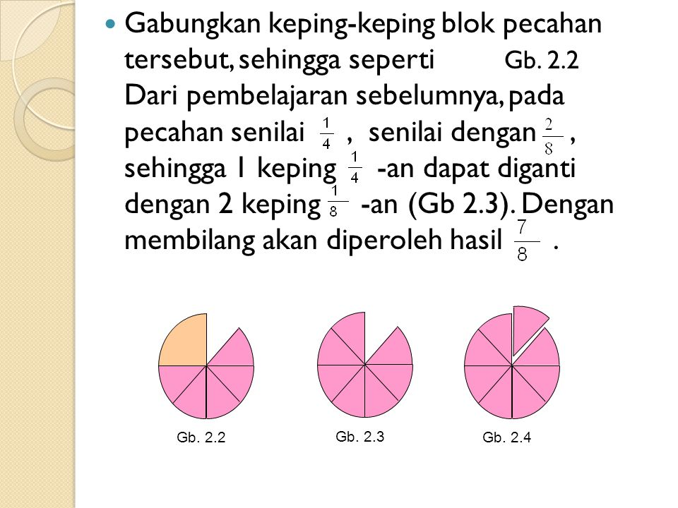Gabungkan keping-keping blok pecahan tersebut, sehingga seperti Gb.