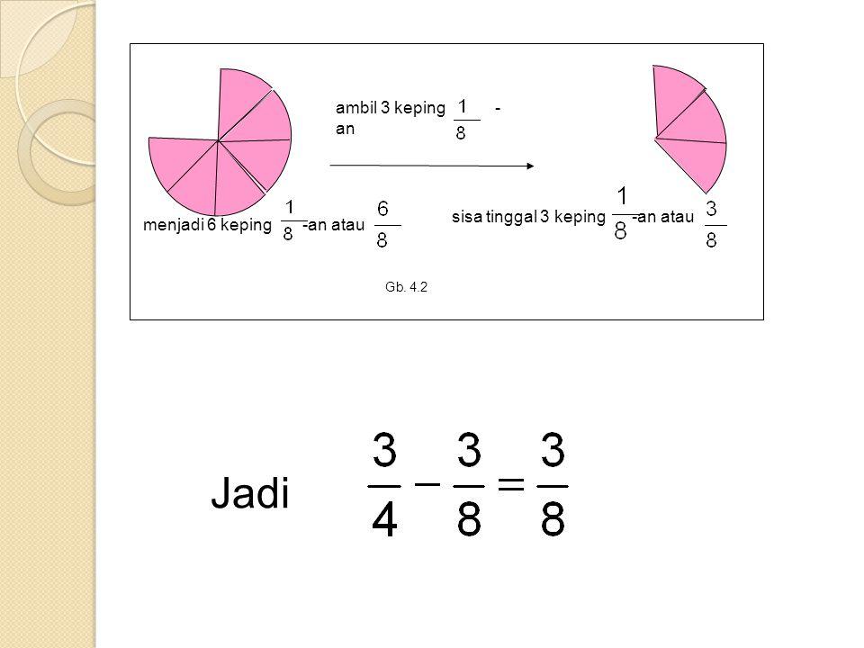 Gb. 4.2 ambil 3 keping - an menjadi 6 keping -an atau sisa tinggal 3 keping -an atau Jadi