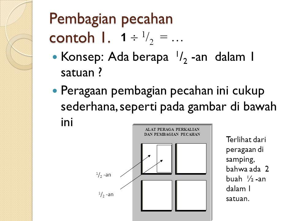 Pembagian pecahan contoh 1.Konsep: Ada berapa 1 / 2 -an dalam 1 satuan .