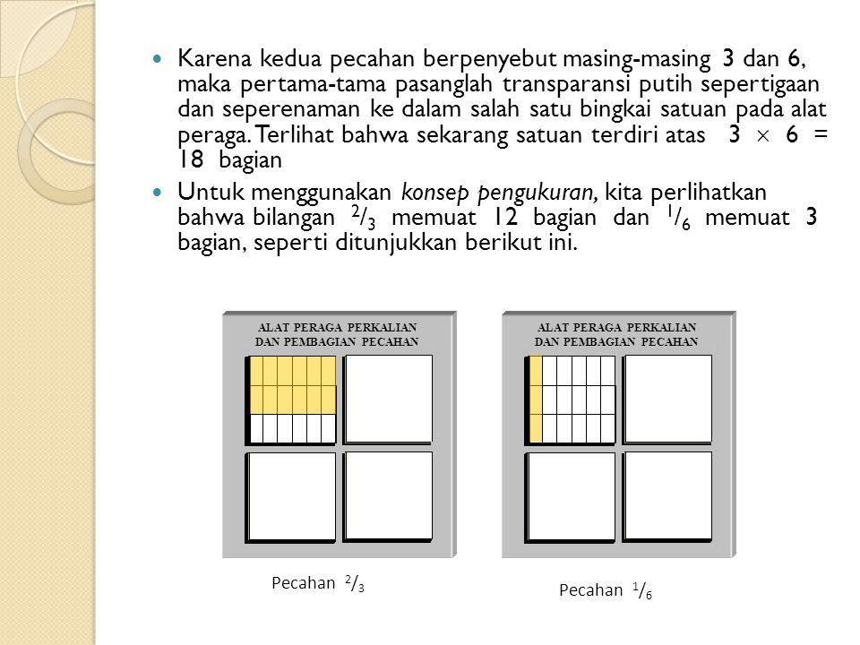 Karena kedua pecahan berpenyebut masing-masing 3 dan 6, maka pertama-tama pasanglah transparansi putih sepertigaan dan seperenaman ke dalam salah satu bingkai satuan pada alat peraga.