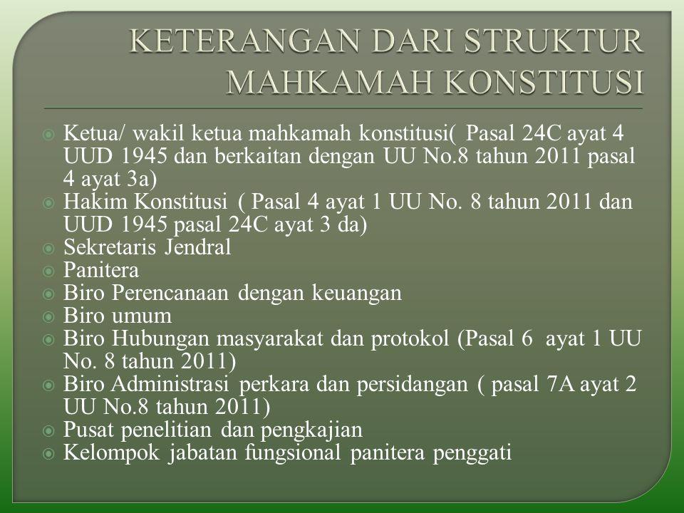  Ketua/ wakil ketua mahkamah konstitusi( Pasal 24C ayat 4 UUD 1945 dan berkaitan dengan UU No.8 tahun 2011 pasal 4 ayat 3a)  Hakim Konstitusi ( Pasal 4 ayat 1 UU No.