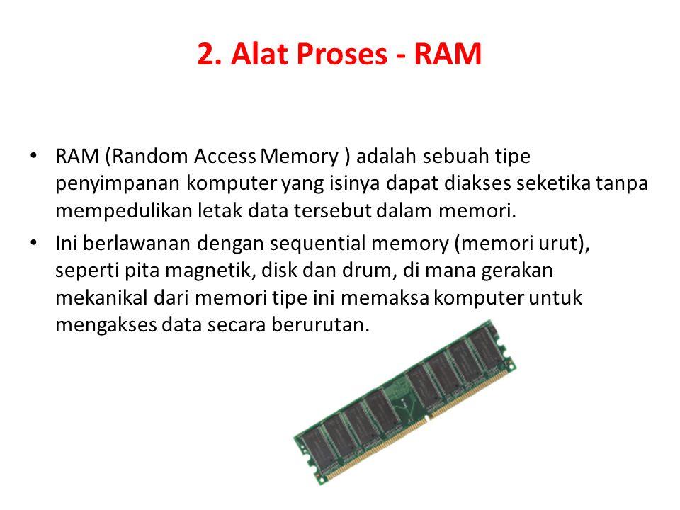 2. Alat Proses - RAM RAM (Random Access Memory ) adalah sebuah tipe penyimpanan komputer yang isinya dapat diakses seketika tanpa mempedulikan letak d