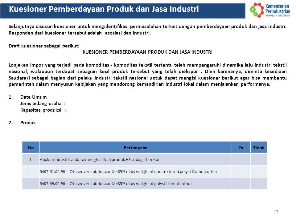 17 Kuesioner Pemberdayaan Produk dan Jasa Industri Selanjutnya disusun kuesioner untuk mengidentifikasi permasalahan terkait dengan pemberdayaan produ
