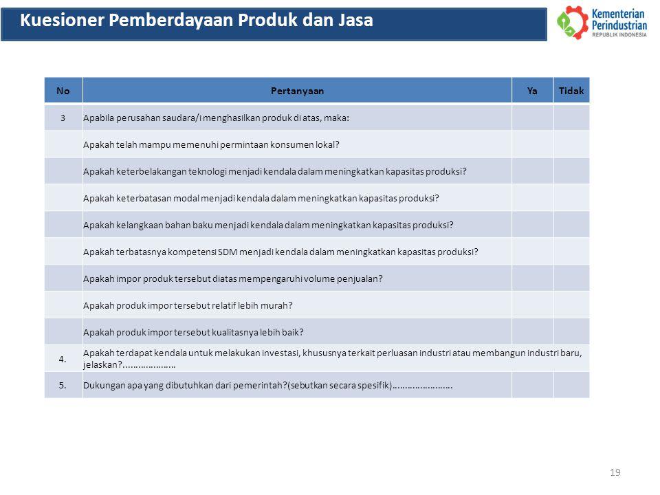 19 Kuesioner Pemberdayaan Produk dan Jasa NoPertanyaanYaTidak 3Apabila perusahan saudara/i menghasilkan produk di atas, maka: Apakah telah mampu memenuhi permintaan konsumen lokal.