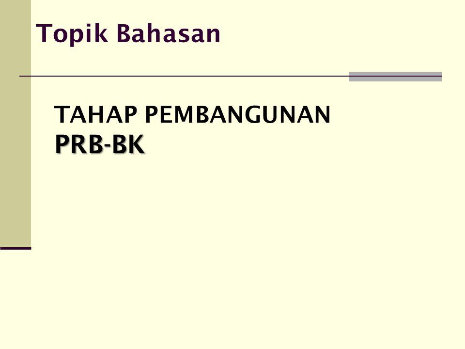 Lingkup Kegiatan Tahap Pembangunan PRB Tahap pembangunan PRB-BK, dibagi dalam 2 tahap : 1.