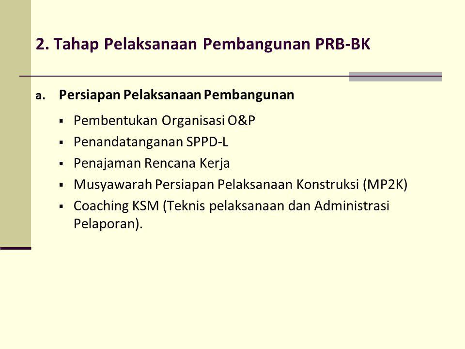 2. Tahap Pelaksanaan Pembangunan PRB-BK a. Persiapan Pelaksanaan Pembangunan  Pembentukan Organisasi O&P  Penandatanganan SPPD-L  Penajaman Rencana