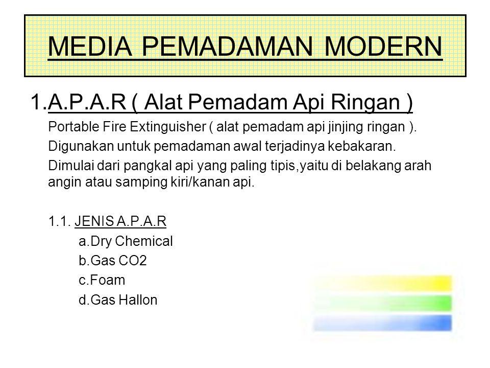 MEDIA PEMADAMAN MODERN 1.A.P.A.R ( Alat Pemadam Api Ringan ) Portable Fire Extinguisher ( alat pemadam api jinjing ringan ). Digunakan untuk pemadaman