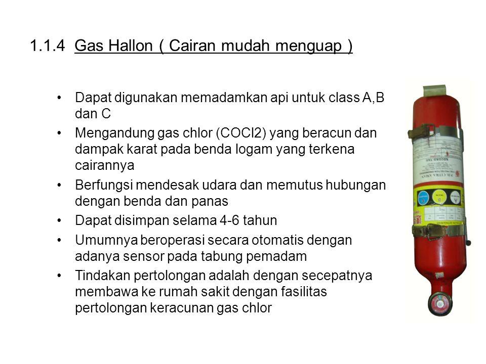 1.1.4 Gas Hallon ( Cairan mudah menguap ) Dapat digunakan memadamkan api untuk class A,B dan C Mengandung gas chlor (COCl2) yang beracun dan dampak ka