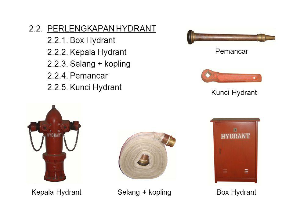 2.2. PERLENGKAPAN HYDRANT 2.2.1. Box Hydrant 2.2.2. Kepala Hydrant 2.2.3. Selang + kopling 2.2.4. Pemancar 2.2.5. Kunci Hydrant Pemancar Kunci Hydrant
