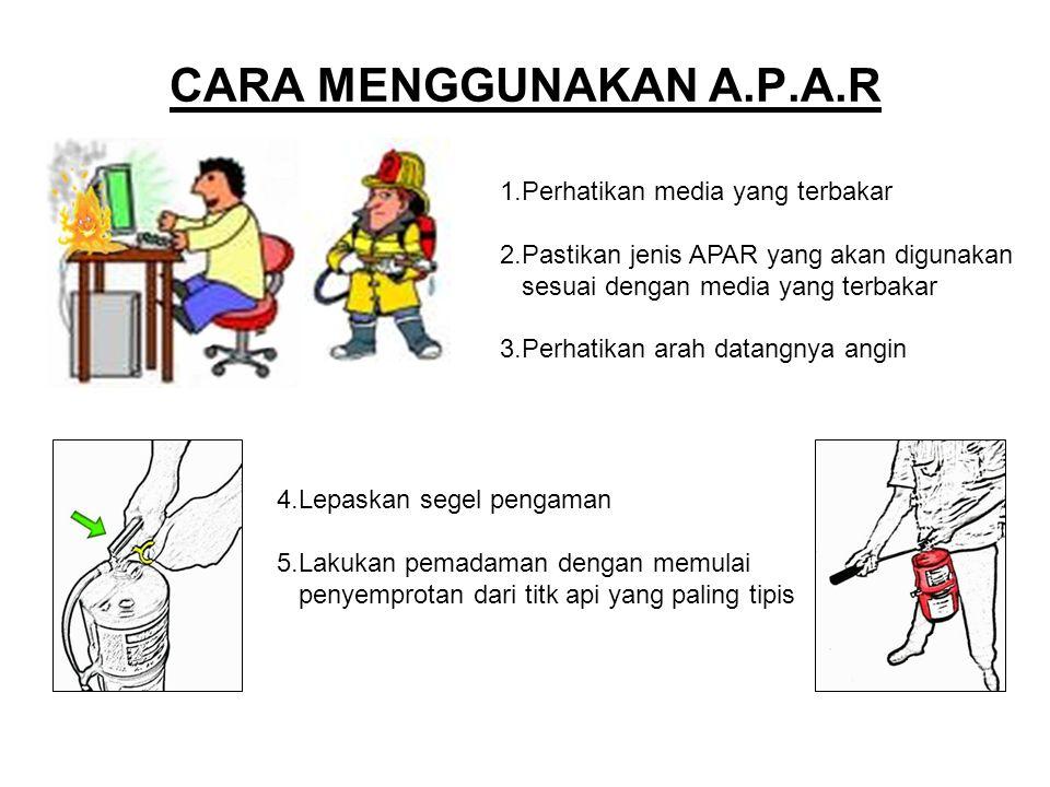 CARA MENGGUNAKAN A.P.A.R 1.Perhatikan media yang terbakar 2.Pastikan jenis APAR yang akan digunakan sesuai dengan media yang terbakar 3.Perhatikan ara