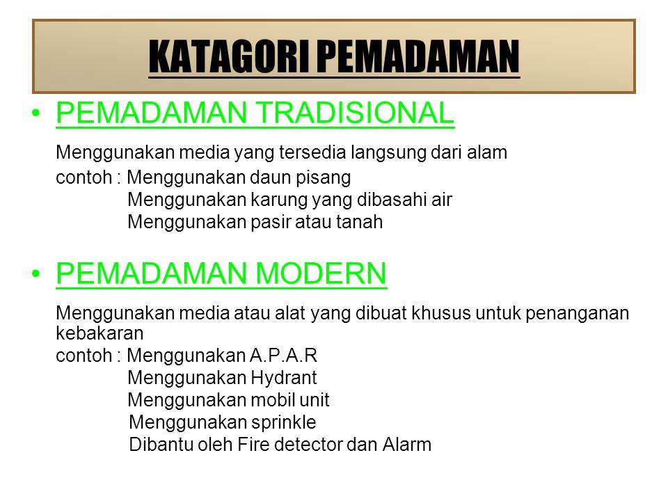 KATAGORI PEMADAMAN PEMADAMAN TRADISIONAL Menggunakan media yang tersedia langsung dari alam contoh : Menggunakan daun pisang Menggunakan karung yang dibasahi air Menggunakan pasir atau tanah PEMADAMAN MODERN Menggunakan media atau alat yang dibuat khusus untuk penanganan kebakaran contoh : Menggunakan A.P.A.R Menggunakan Hydrant Menggunakan mobil unit Menggunakan sprinkle Dibantu oleh Fire detector dan Alarm