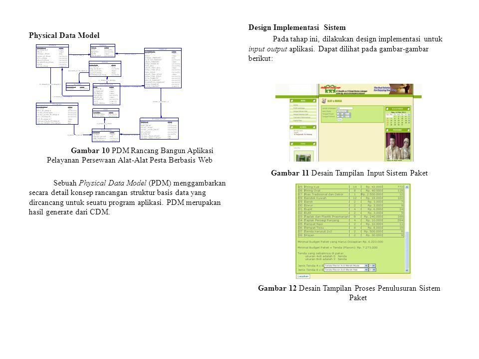 Physical Data Model Gambar 10 PDM Rancang Bangun Aplikasi Pelayanan Persewaan Alat-Alat Pesta Berbasis Web Sebuah Physical Data Model (PDM) menggambarkan secara detail konsep rancangan struktur basis data yang dircancang untuk seuatu program aplikasi.