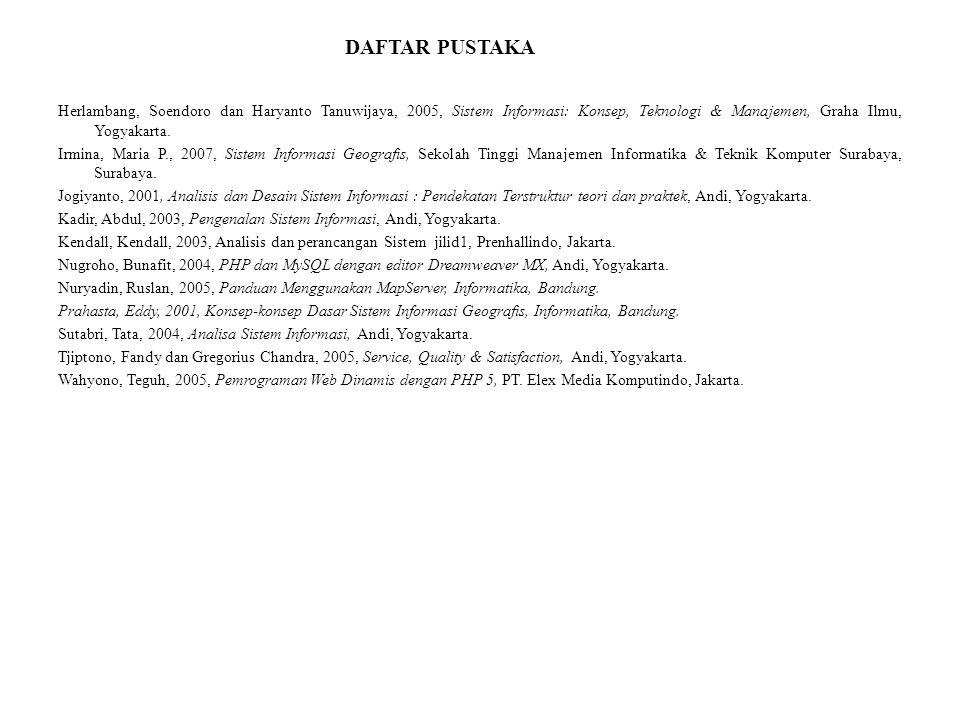 DAFTAR PUSTAKA Herlambang, Soendoro dan Haryanto Tanuwijaya, 2005, Sistem Informasi: Konsep, Teknologi & Manajemen, Graha Ilmu, Yogyakarta.