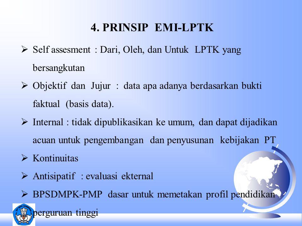 4. PRINSIP EMI-LPTK  Self assesment : Dari, Oleh, dan Untuk LPTK yang bersangkutan  Objektif dan Jujur : data apa adanya berdasarkan bukti faktual (