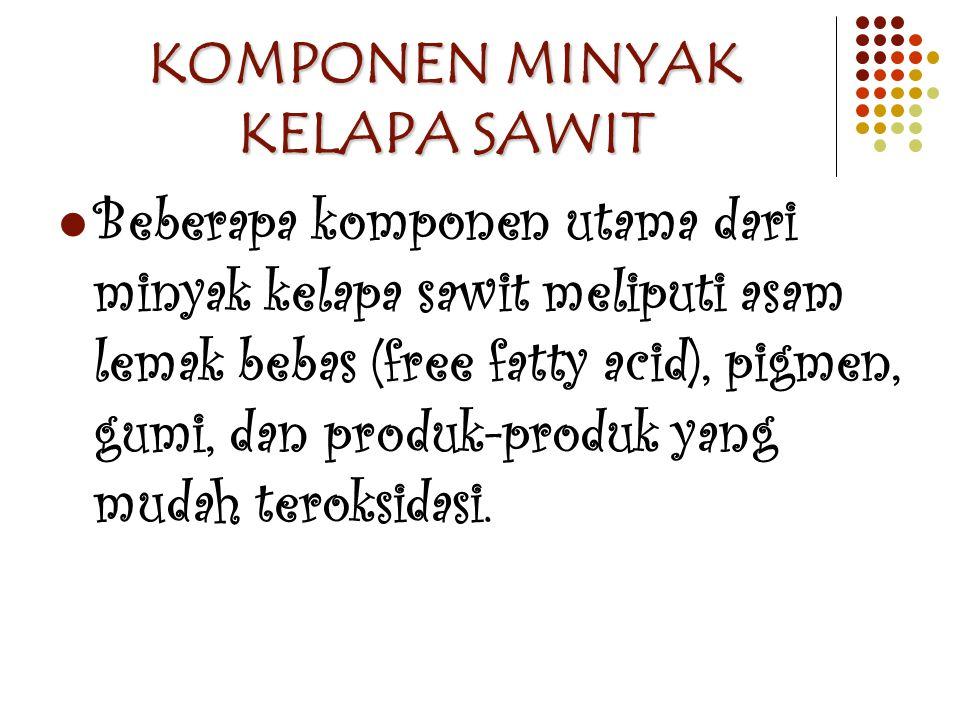 KOMPONEN MINYAK KELAPA SAWIT Beberapa komponen utama dari minyak kelapa sawit meliputi asam lemak bebas (free fatty acid), pigmen, gumi, dan produk-pr