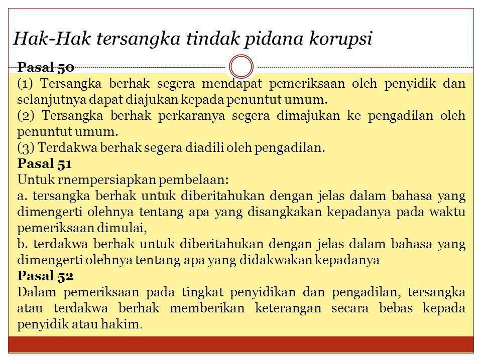Hak-Hak tersangka tindak pidana korupsi Pasal 50 (1) Tersangka berhak segera mendapat pemeriksaan oleh penyidik dan selanjutnya dapat diajukan kepada