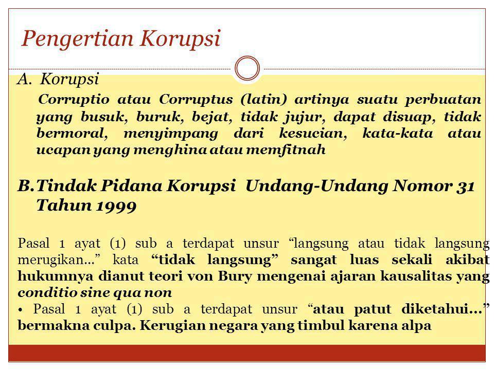Undang Undang No 20 Tahun 2001 Korupsi dirumuskan ke dalam 7 bentuk/jenis tindak pidana Merugian keuangan dan perekonomian negara; Suap menyuap-gratifikasi; Penggelapan dalam jabatan; Pemalsuan; Pemerasan; Perbuatan curang; Benturan kepentingan dalam pengadaan.