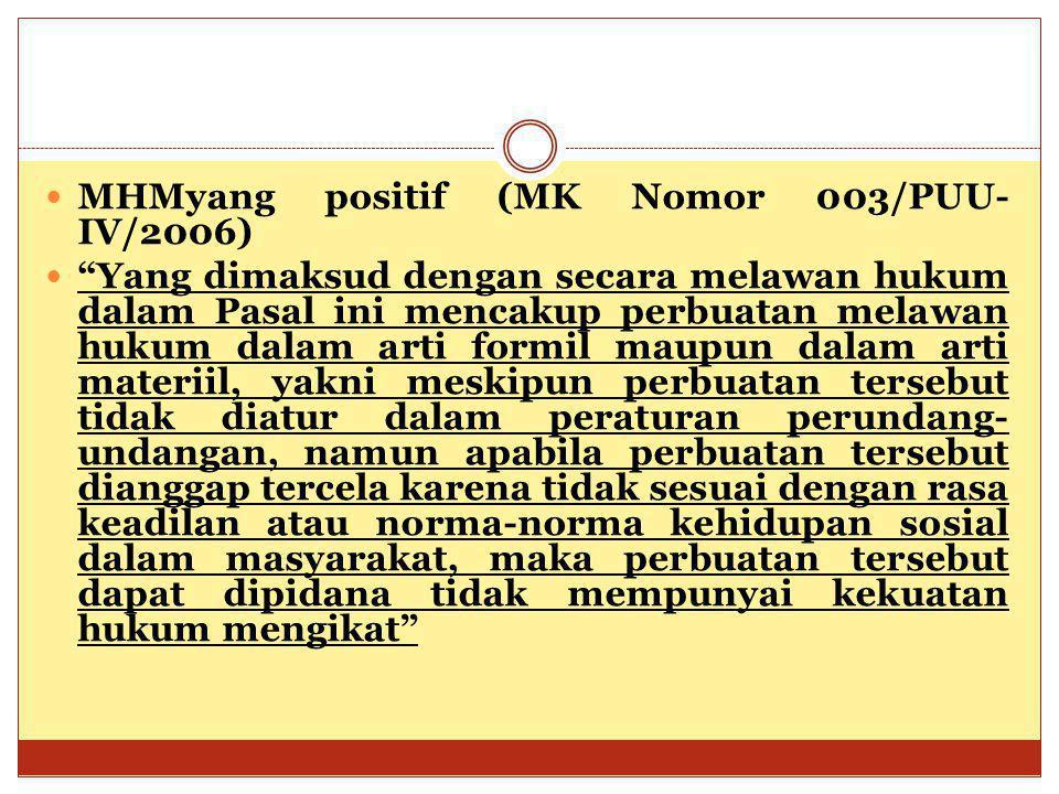 """MHMyang positif (MK Nomor 003/PUU- IV/2006) """"Yang dimaksud dengan secara melawan hukum dalam Pasal ini mencakup perbuatan melawan hukum dalam arti for"""