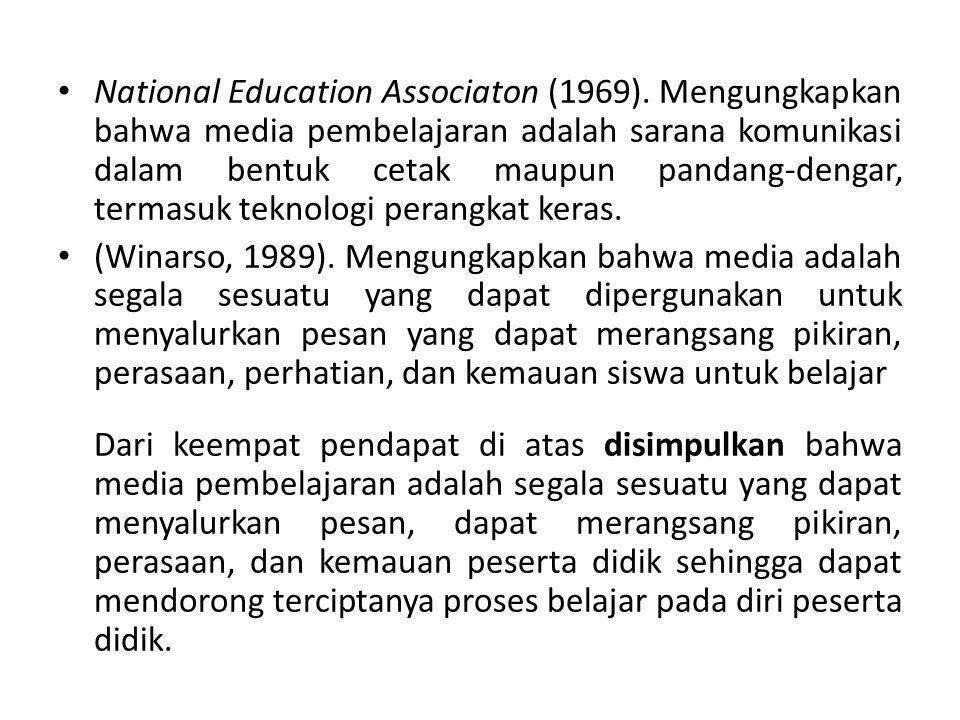 National Education Associaton (1969). Mengungkapkan bahwa media pembelajaran adalah sarana komunikasi dalam bentuk cetak maupun pandang-dengar, termas