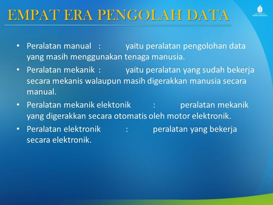 EMPAT ERA PENGOLAH DATA Peralatan manual : yaitu peralatan pengolohan data yang masih menggunakan tenaga manusia.