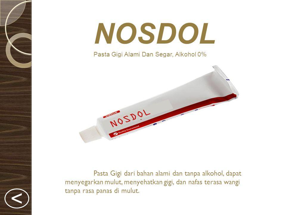 NOSDOL Pasta Gigi Alami Dan Segar, Alkohol 0% Pasta Gigi dari bahan alami dan tanpa alkohol, dapat menyegarkan mulut, menyehatkan gigi, dan nafas terasa wangi tanpa rasa panas di mulut.