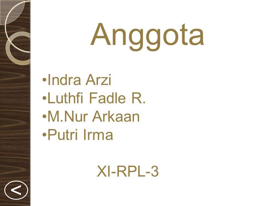 Anggota Indra Arzi Luthfi Fadle R. M.Nur Arkaan Putri Irma XI-RPL-3 <