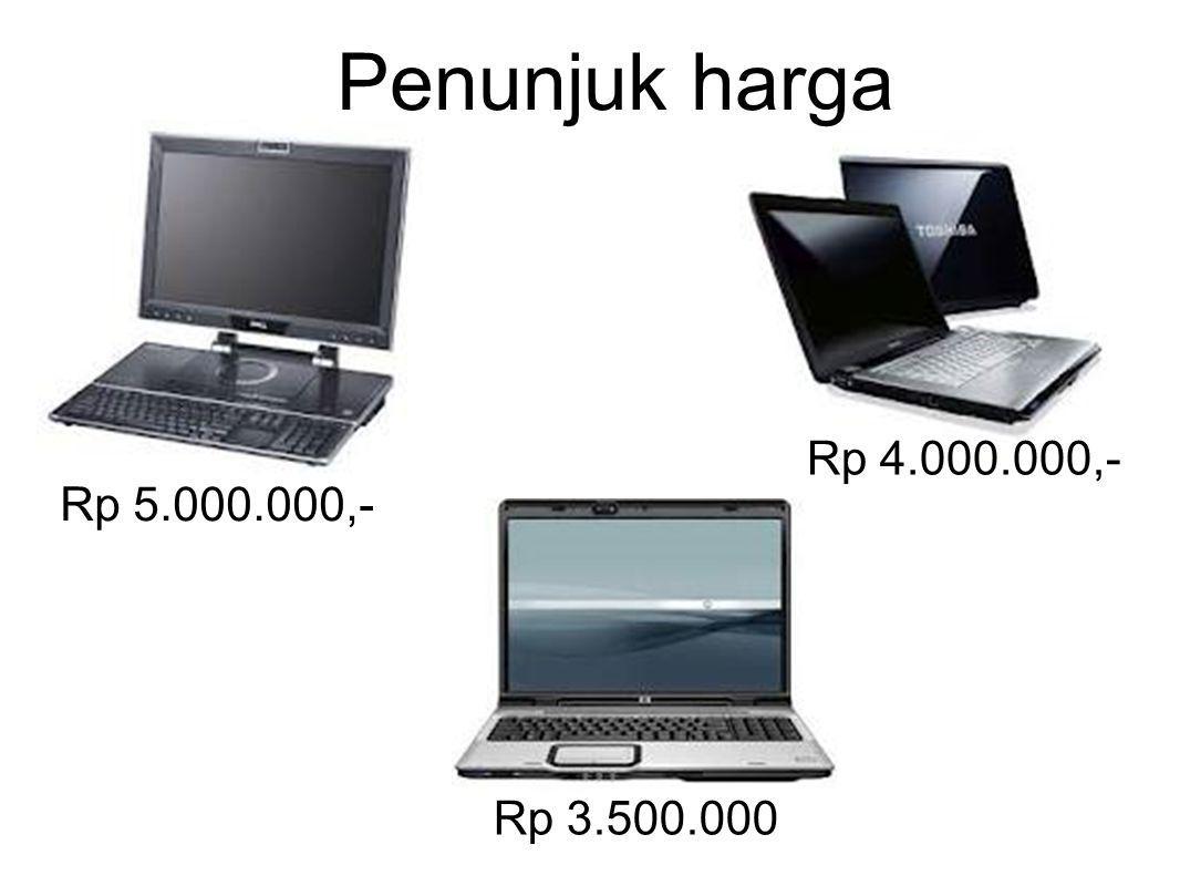 Penunjuk harga Rp 5.000.000,- Rp 4.000.000,- Rp 3.500.000