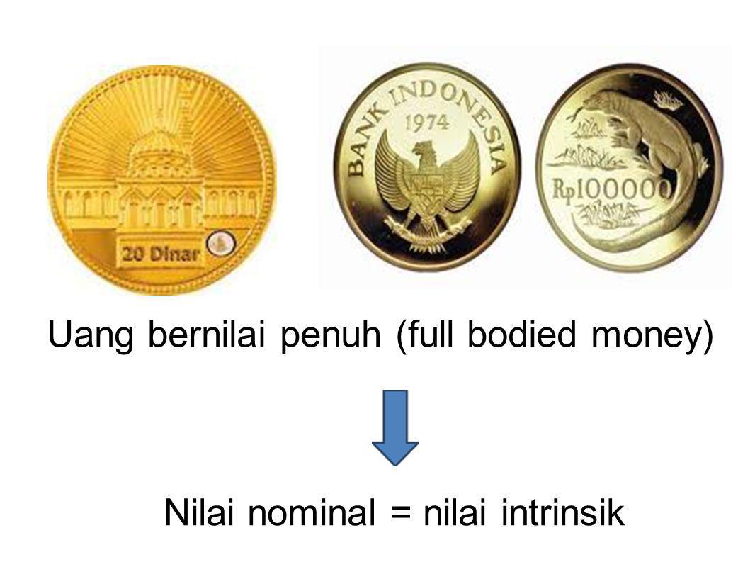 Uang bernilai penuh (full bodied money) Nilai nominal = nilai intrinsik
