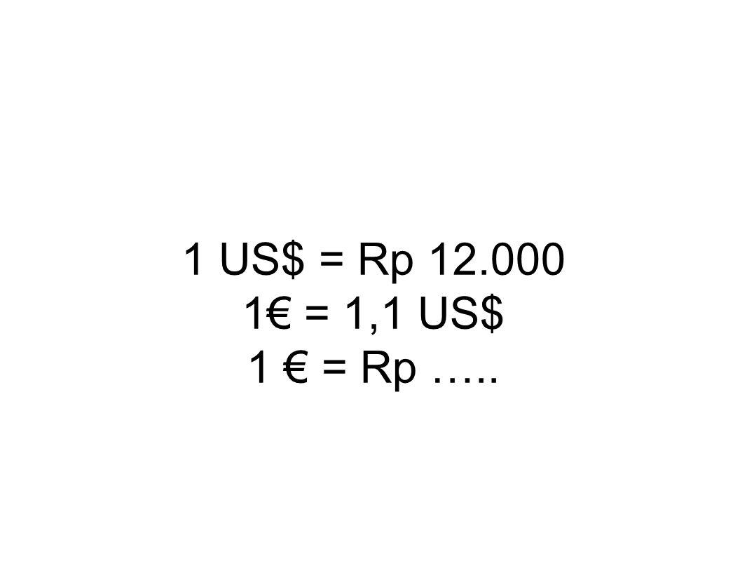 1 US$ = Rp 12.000 1€ = 1,1 US$ 1 € = Rp …..