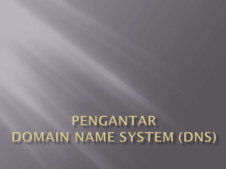  gTLD (generic Top Level Domain)  Domain yang populer:.com,.net,.org,.gov,.mil,.edu,.int  Sudah ditambah dengan domain-domain lain .aero,.biz,.coop,.info,.museum,.name,.pro  http://www.iana.org/gtld/gtld.htm  ccTLD (country code Top Level Domain) .ID,.JP,.SG,.US, dll.