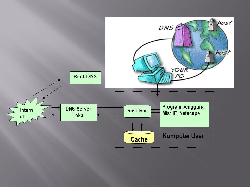 Komputer User Root DNS Program pengguna Mis: IE, Netscape Cache Intern et DNS Server Lokal Resolver
