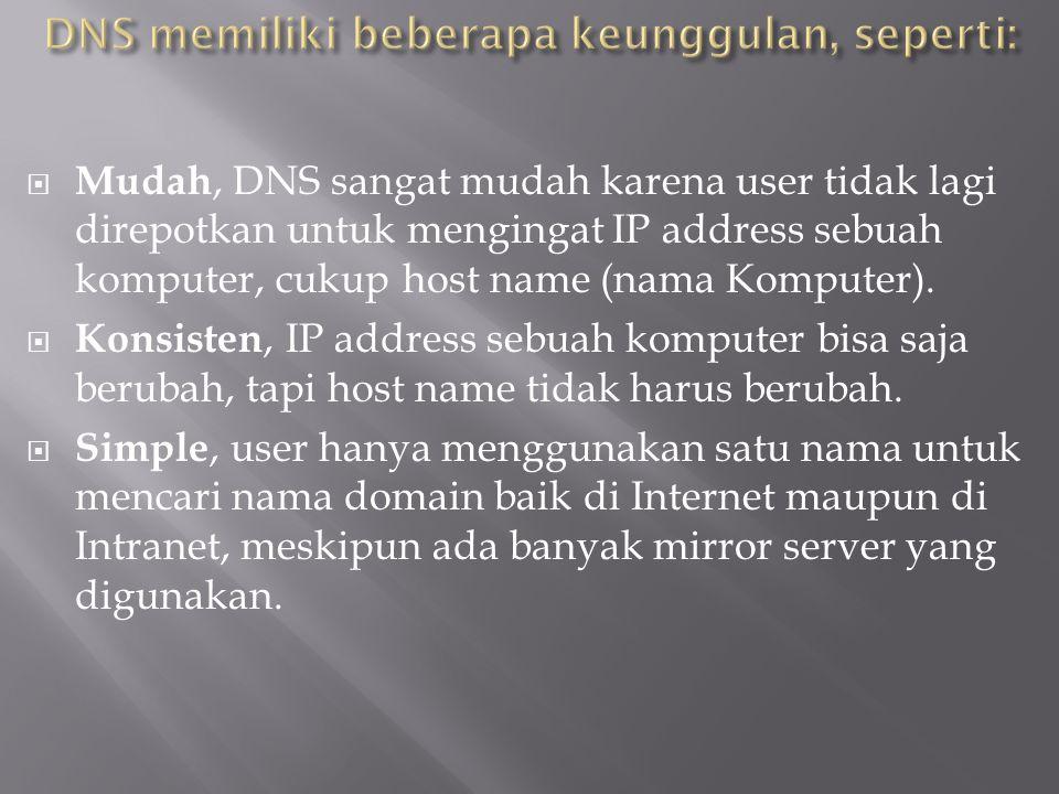  Mudah, DNS sangat mudah karena user tidak lagi direpotkan untuk mengingat IP address sebuah komputer, cukup host name (nama Komputer).  Konsisten,
