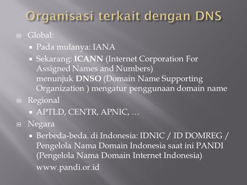  Global:  Pada mulanya: IANA  Sekarang: ICANN (Internet Corporation For Assigned Names and Numbers) menunjuk DNSO (Domain Name Supporting Organizat